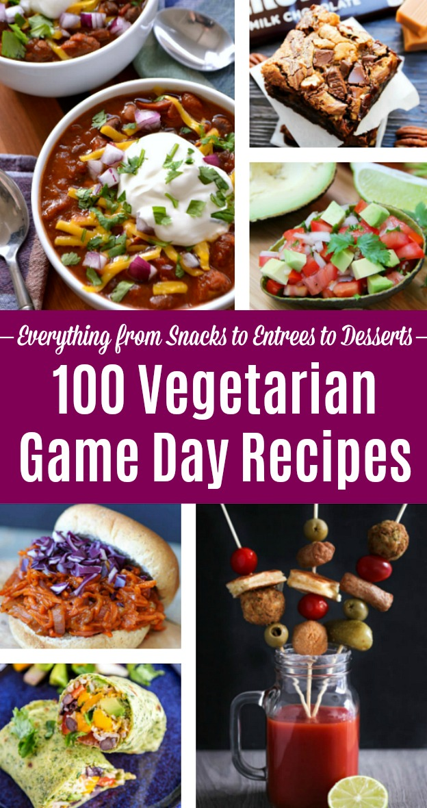 100 Vegetarian Game Day Recipes! Get ready for the big game with over 100 vegetarian and vegan appetizers, soups, chilis, main dishes, sandwiches, breakfast, slow cooker recipes, desserts, and more that will make your next basketball or football watching party unforgettable! If you're looking for clean eating, healthy Game Day Food for a crowd, these meatless recipes are perfect. | Hello Little Home #gamedayfood #gameday #vegetarianrecipes #veganrecipes #footballparty #partyfood #gamedayrecipes