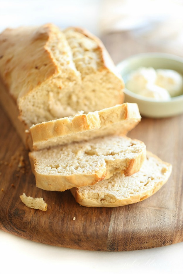 Honey Beer Bread from Julie Blanner ... one of 100 Vegetarian Game Day Recipes! Get ready for the big game with over 100 vegetarian and vegan appetizers, soups, chilis, main dishes, sandwiches, breakfast, desserts, and more that will make your next football watching party unforgettable! | Hello Little Home
