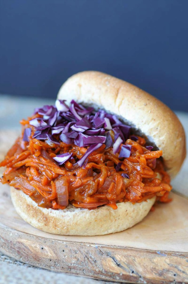 Pulled BBQ Carrots from Veganosity ... one of 100 Vegetarian Game Day Recipes! Get ready for the big game with over 100 vegetarian and vegan appetizers, soups, chilis, main dishes, sandwiches, breakfast, desserts, and more that will make your next football watching party unforgettable! | Hello Little Home