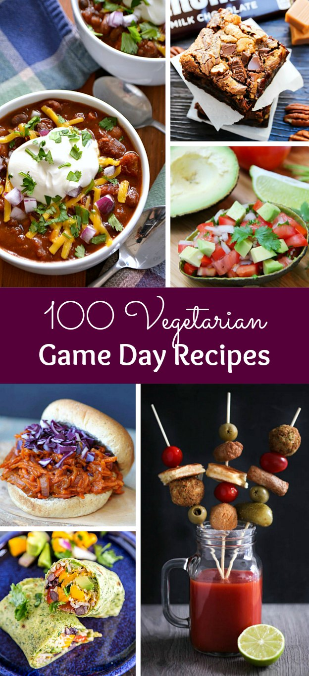 100 Vegetarian Game Day Recipes! Get ready for the big game with over 100 vegetarian and vegan appetizers, soups, chilis, main dishes, sandwiches, breakfast, desserts, and more that will make your next football watching party unforgettable! | Hello Little Home