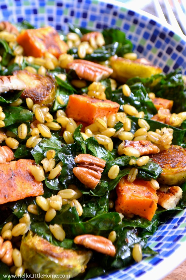 Winter Kale Salad With Freekeh And Roasted Veggies A Delicious Healthy
