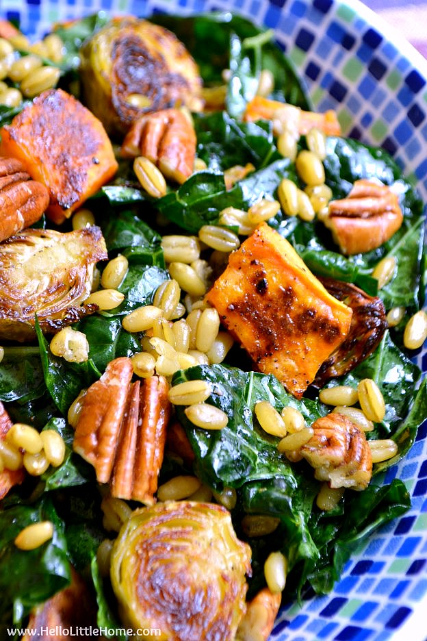 Winter Kale Salad with Freekeh and Roasted Veggies ... a delicious, and healthy vegetarian salad recipe that's bursting with tasty winter vegetables and an easy homemade curry vinaigrette! | Hello Little Home