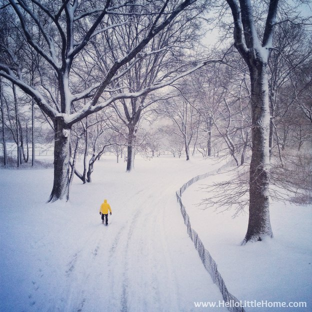A person with a bright yellow coat walking in the snow.