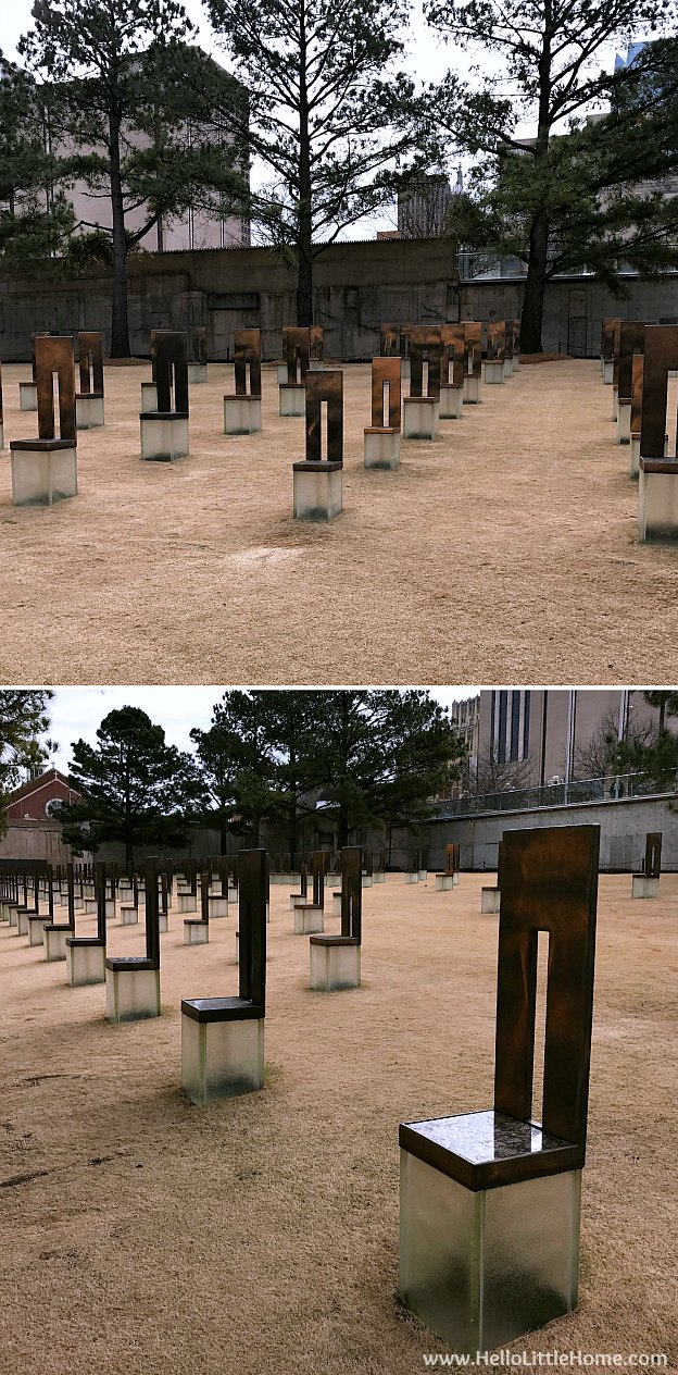 48 Hours in Oklahoma City travel guide! Take a tour of this fun, walkable city ... you won't believe all the things to do in Oklahoma City! OKC National Memorial and Museum Field of Empty Chairs | Hello Little Home