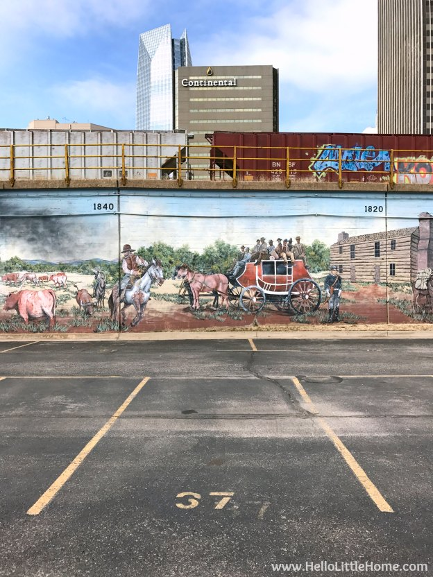 48 Hours in Oklahoma City travel guide! Take a tour of this fun, walkable city ... you won't believe all the things to do in Oklahoma City! Downtown OKC Mural | Hello Little Home