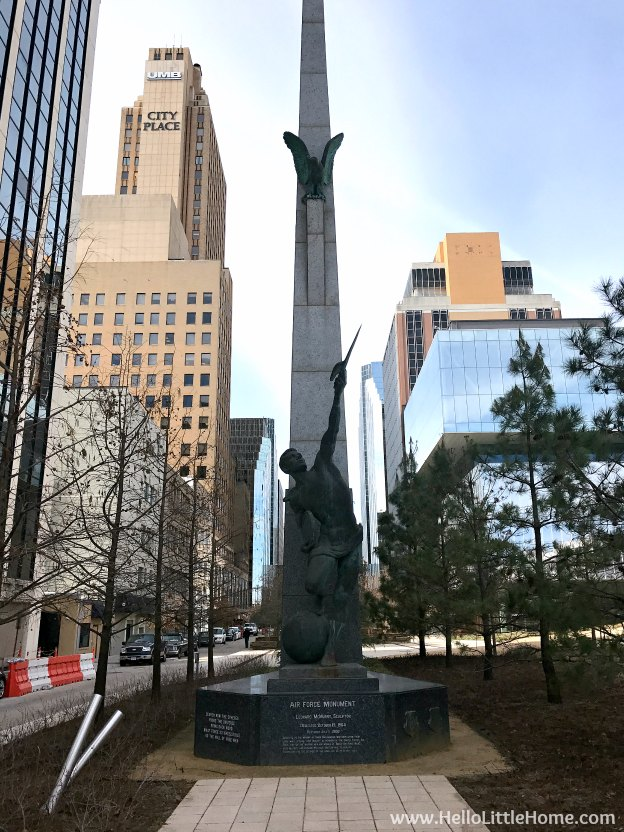 48 Hours in Oklahoma City travel guide! Take a tour of this fun, walkable city ... you won't believe all the things to do in Oklahoma City! Air Force Monument in Downtown OKC | Hello Little Home