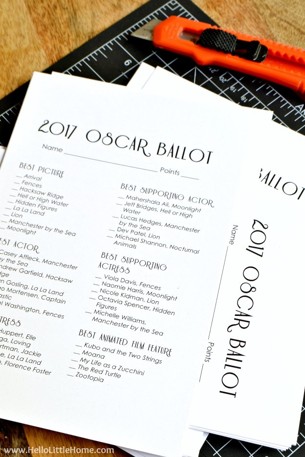 Sweet image regarding printable oscar ballots