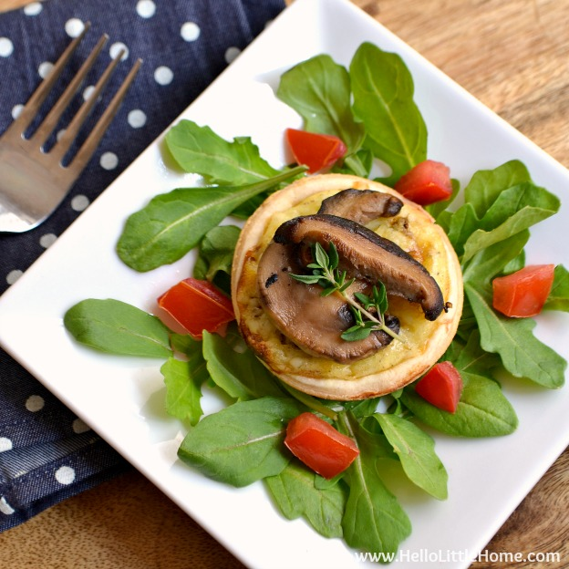 Mini Cheese Tarts with Pan Roasted Mushrooms