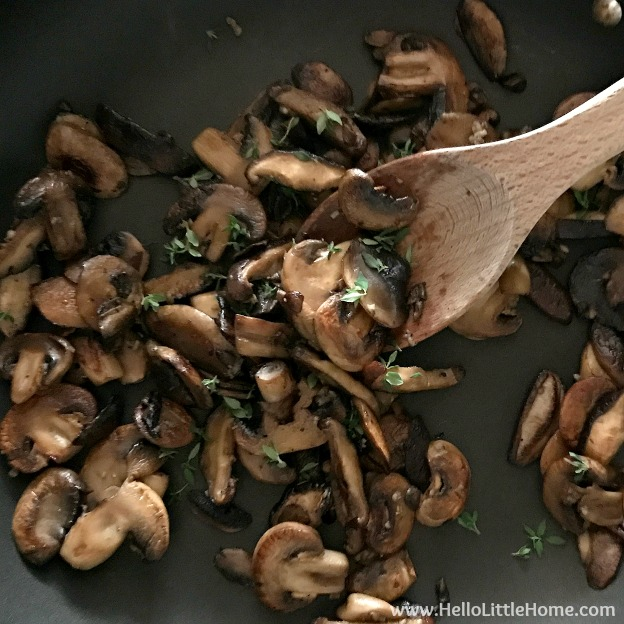 Making pan roasted mushrooms for topping Mini Cheddar Quiche.