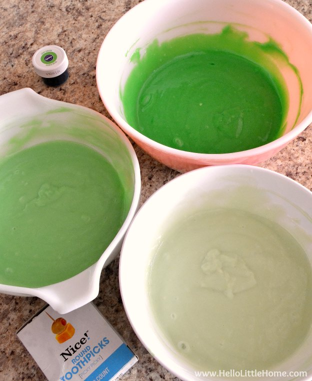 Coloring batter for St. Patrick's Day Cake.