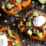 Tex-Mex Stuffed Sweet Potatoes ... a delicious and easy vegetarian recipe! Makes a great weeknight dinner or tasty side dish for a big family meal! | Hello Little Home