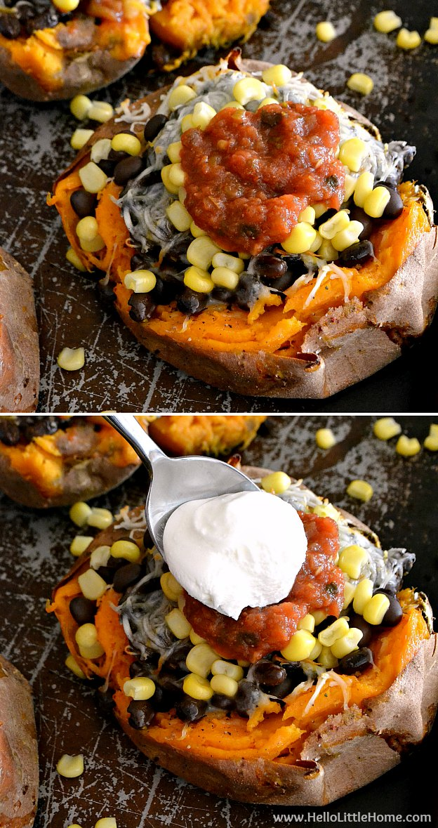 Adding toppings to stuffed sweet potatoes.