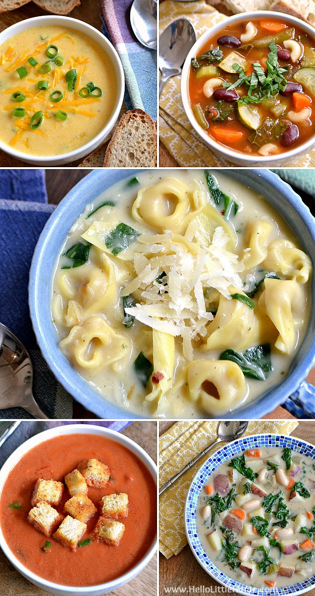 The BEST Vegetarian Soup Recipes ... warm up with a bowl of thick, hearty veggie soup! You whole family with love these delicious veggie soup recipes ... both vegetarian and vegan options! | Hello Little Home