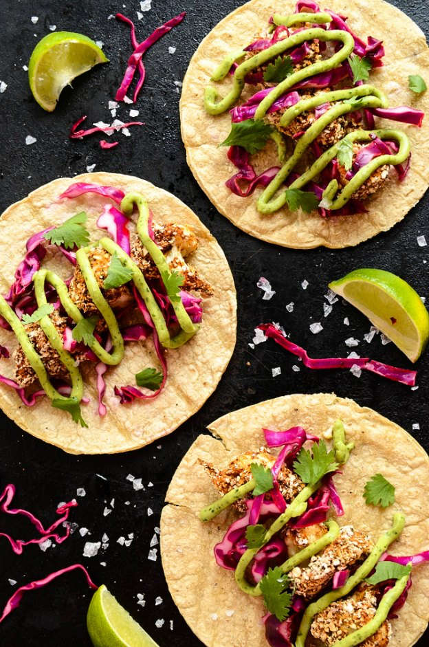 25 Vegetarian Tacos Recipes that are perfect for Taco Tuesday or any night of the week, like these Crispy Cauliflower Tacos from Blissful Basil! These healthy taco recipes are a great easy dinner idea. Lots of tasty vegan taco options, too! | Hello LIttle Home