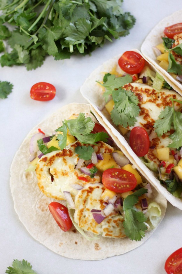 25 Vegetarian Tacos Recipes that are perfect for Taco Tuesday or any night of the week, like these Grilled Halloumi Tacos from Amuse Your Bouche! These healthy taco recipes are a great easy dinner idea. Lots of tasty vegan taco options, too! | Hello LIttle Home