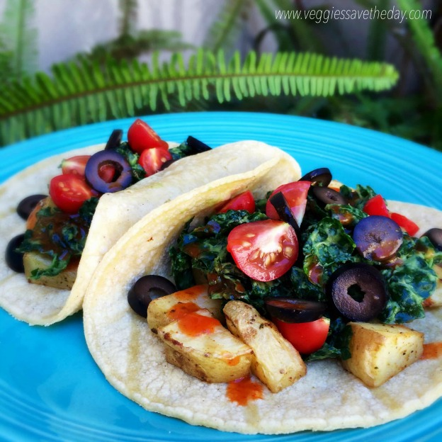 25 Vegetarian Tacos Recipes that are perfect for Taco Tuesday or any night of the week, like these Roasted Potato and Kale Tacos from Veggies Save the Day! These healthy taco recipes are a great easy dinner idea. Lots of tasty vegan taco options, too! | Hello LIttle Home