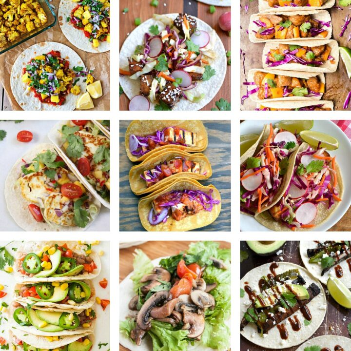A photo collage of nine Vegetarian Tacos.