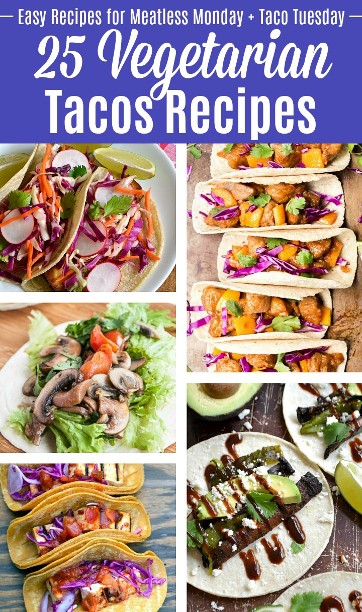 A photo collage of different veggie tacos.