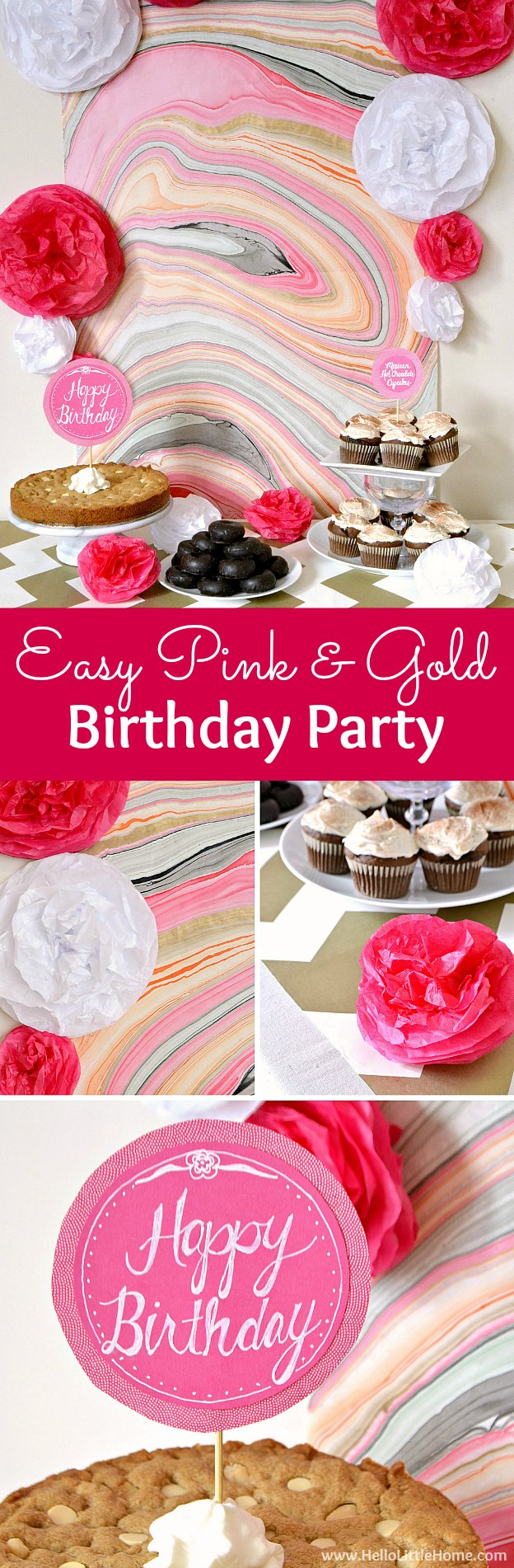 Easy Pink and Gold Birthday Party! Celebrate someone special with these fun, easy DIY birthday party decor ideas. This festive pink and gold party theme, featuring DIY tissue puffs, a marble backdrop, and a chocolate sweets tables, is a cheery addition to any fiesta! | Hello Little Home