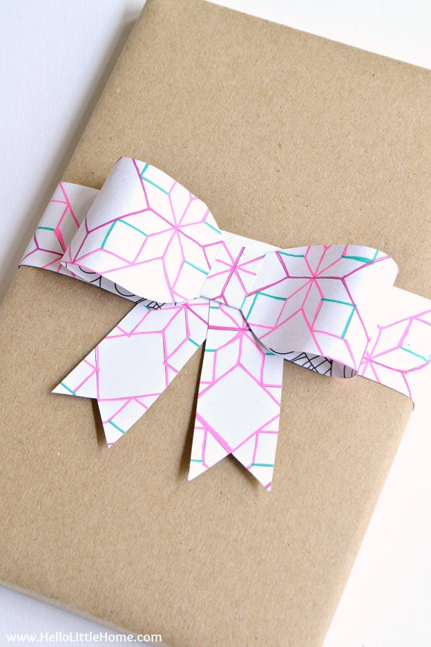 A bow made from a coloring page.