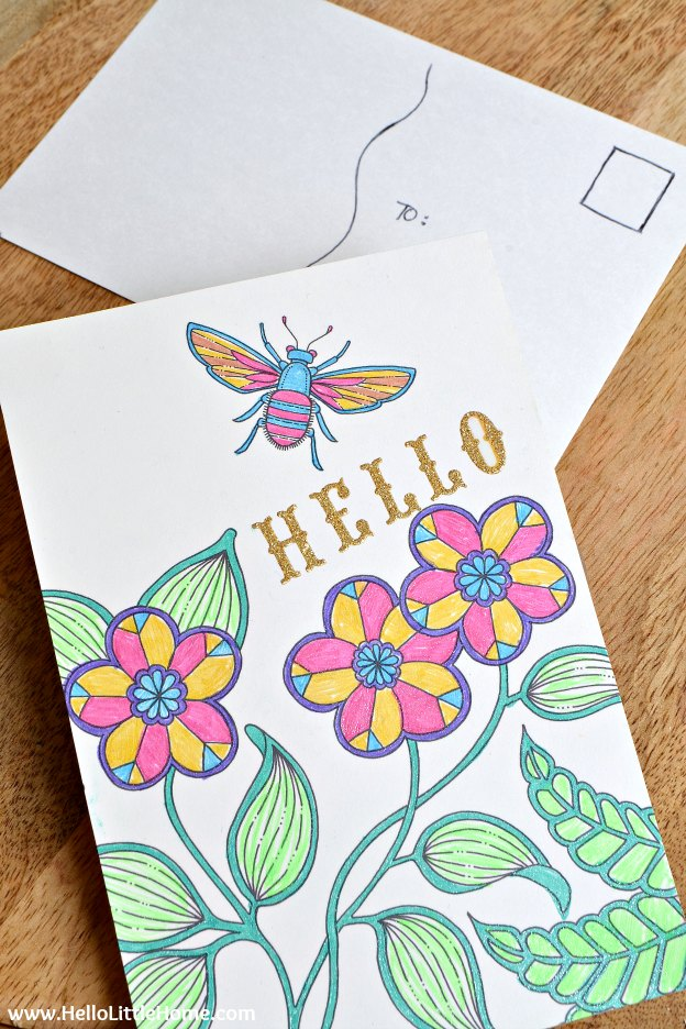 10 Easy Ways to Use Coloring Pages, like this homemade postcard! Love adult coloring books? Don't let your favorite pages sit unused! Try these easy DIY ideas for using completed pages ... from art to bows and more! | Hello Little Home