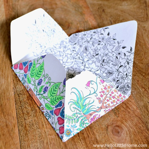 10 Easy Ways to Use Coloring Pages, like this homemade envelope! Love adult coloring books? Don't let your favorite pages sit unused! Try these easy DIY ideas for using completed pages ... from art to bows and more! | Hello Little Home