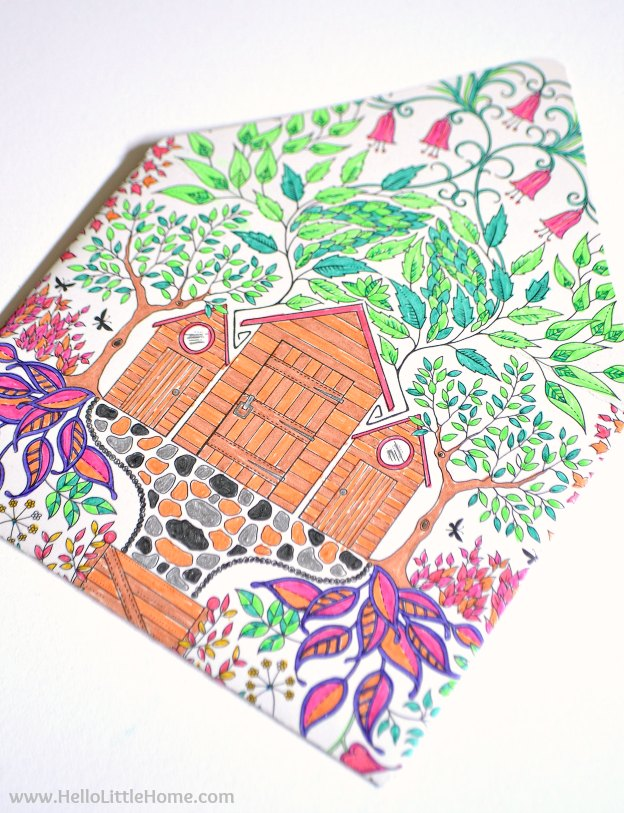 A colorful envelope made from a finished coloring page.