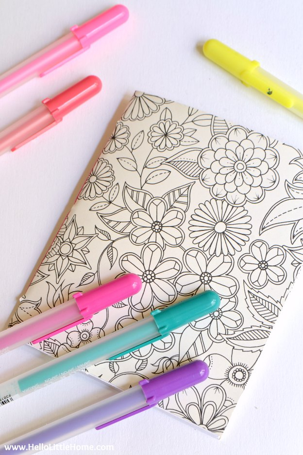 10 Easy Ways to Use Coloring Pages, like this homemade journal! Love adult coloring books? Don't let your favorite pages sit unused! Try these easy DIY ideas for using completed pages ... from art to bows and more! | Hello Little Home