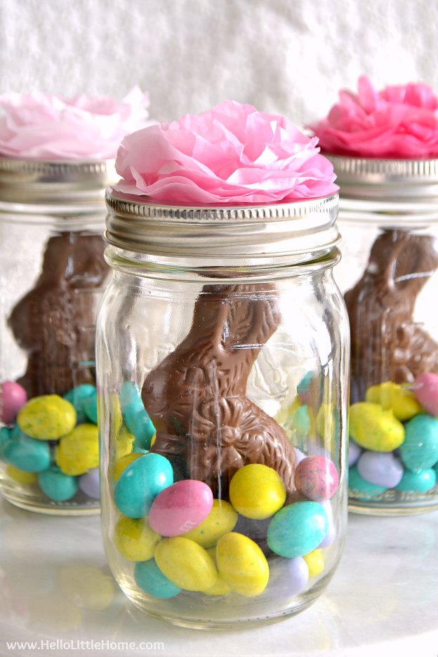 Mason jar easter baskets cute easy hello little home mason jar easter baskets a cute gift idea that takes minutes to make negle Gallery
