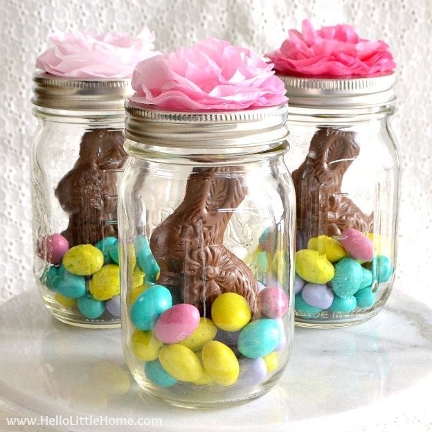 Mason jar easter baskets cute easy hello little home mason jar easter baskets a cute gift idea that takes minutes to make negle Images