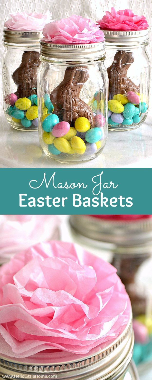 Mason jar easter baskets cute easy hello little home mason jar easter baskets with chocolate bunnies and candy treats a cheap negle