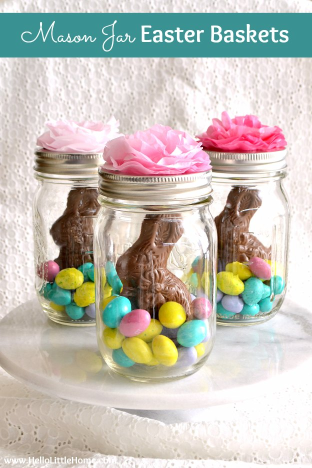 Mason Jar Easter Baskets with chocolate bunnies and candy treats ... a cheap, creative Easter craft idea that takes minutes to make! This mason jar craft idea for Easter is a fun way to decorate a centerpiece or table setting, give as a party favor, or just brighten someone's day with a cute DIY Easter Basket! Great homemade gift for kids or for adults and so simple and unique! | Hello Little Home #easter #eastercrafts #easterbasket #masonjar #masonjarcrafts #diyeaster #masonjareasterbasket