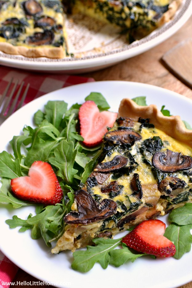 150+ Vegetarian Easter Recipes that are perfect for your holiday dinner or brunch, including this Mushroom, Kale, and Cheddar Quiche! Find tons of vegetarian and vegan recipe ideas - from healthy appetizers to decadent desserts - that your whole family will love! Hello Little Home