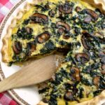 Mushroom, Kale, and Cheddar Quiche ... a delicious vegetarian recipe that everyone will love! This easy veggie quiche recipe is packed with tasty ingredients and is perfect for Easter, brunch, or any meal! | Hello Little Home