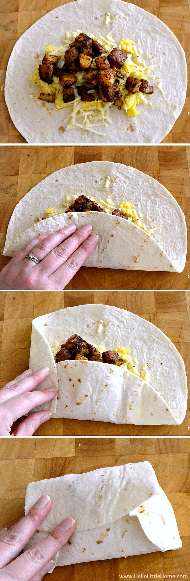 Folding up the Egg and Potato Breakfast Burritos.