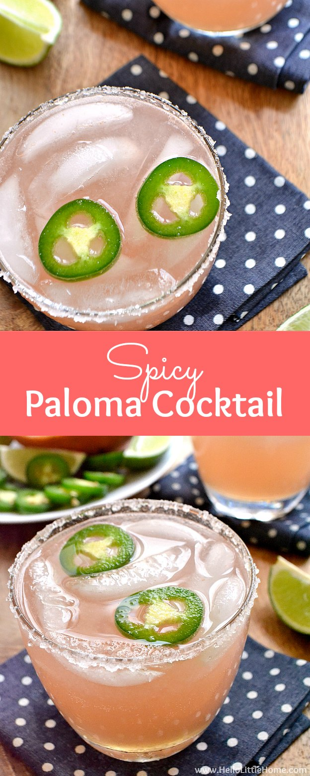 Spicy Paloma Cocktail Recipe, a refreshing twist on the classic Mexican drink! Learn how to make an easy Paloma cocktail from simple ingredients: tequila, fresh grapefruit juice, and spicy jalapeno simple syrup! This simple Paloma recipe is a fun pink cocktail that's ideal for entertaining, happy hour, summer, Cinco de Mayo, or any get together! | Hello Little Home #palomarecipe #palomacocktail #spicy #spicypaloma #tequila #cocktails #cocktailrecipe #jalapeno #jalapenosimplesyrup #paloma
