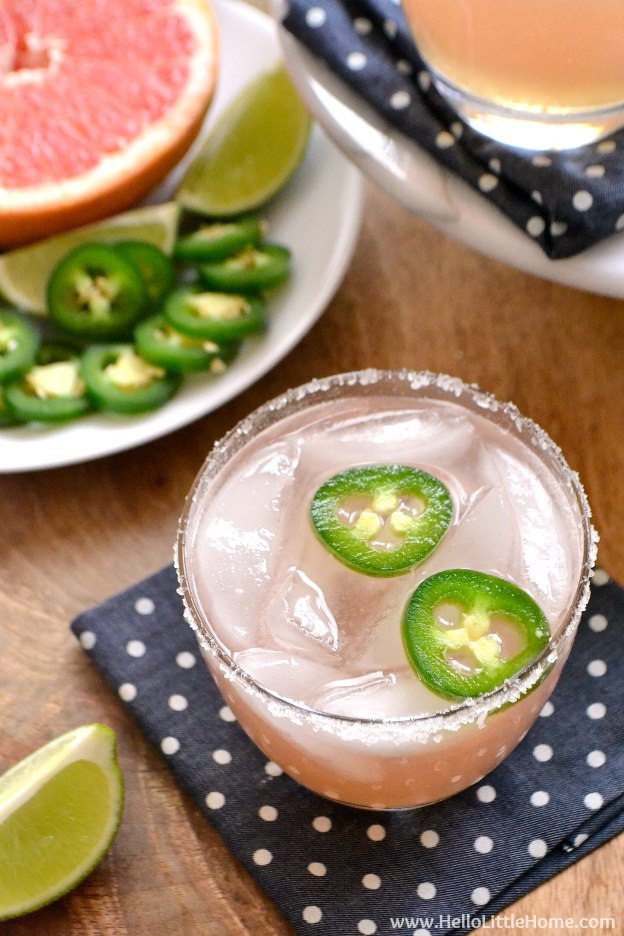 100 Must Try Vegetarian Spring Recipes ... everything from appetizers to main dishes to desserts, including this Spicy Paloma Cocktail! You're going to want to try each of these amazing vegetarian recipes! | Hello Little Home