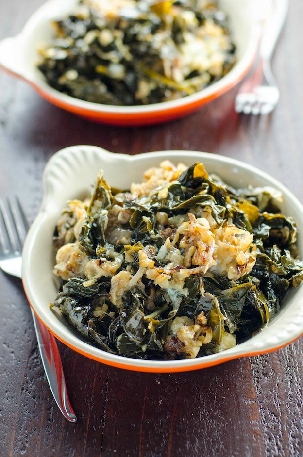 150+ Vegetarian Easter Recipes that are perfect for your holiday dinner or brunch, including this Braised Kale from Umami Girl! Find tons of vegetarian and vegan recipe ideas - from healthy appetizers to decadent desserts - that your whole family will love! Hello Little Home