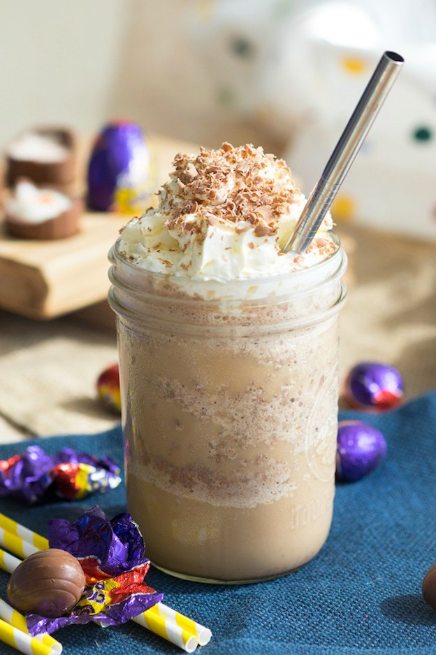 150+ Vegetarian Easter Recipes that are perfect for your holiday dinner or brunch, including this Cadbury Creme Egg Frappuccino from The Worktop! Find tons of vegetarian and vegan recipe ideas - from healthy appetizers to decadent desserts - that your whole family will love! Hello Little Home