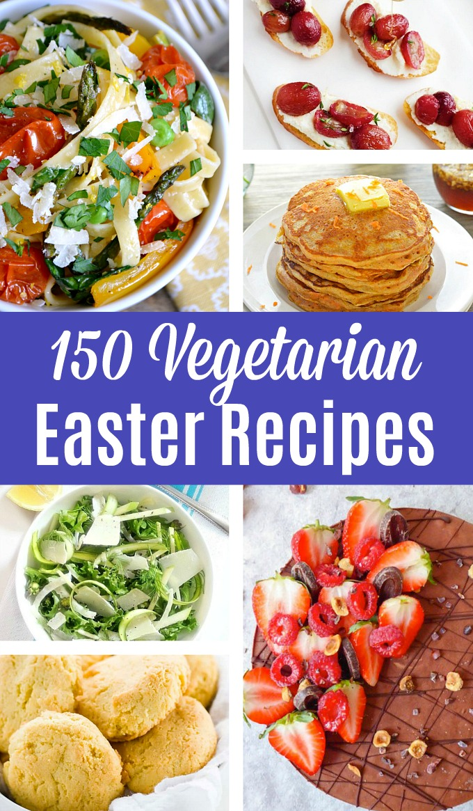 150+ Vegetarian Easter Recipes that are perfect for your Easter holiday meal! Find tons of vegetarian and vegan Easter Dinner, Easter lunch, and Easter Brunch ideas – appetizers, breakfast, main courses, side dishes, vegetables, desserts, and more. Lots of healthy veggie recipes and make ahead ideas that your whole family will love! Hello Little Home #vegetarian #easterrecipes #easterbrunch #easterlunch #easterdinner #vegetarianeasterecipes #easter #vegan #veganrecipes