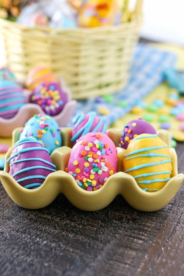 Cookie dough easter eggs served in a small yellow tray.