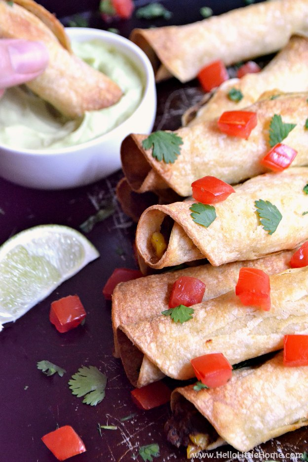 Baked Black Bean Taquitos with Avocado Cream Sauce ... yum! This delcious vegetarian taquitos recipe is made with corn tortillas filled with healthy, gluten free ingredients and packed with flavor. Serve them with salsa or an easy homemade avocado cream sauce (that's also perfect for tacos, enchiladas, etc.)!   Hello Little Home