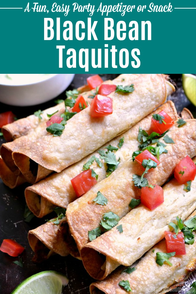 Learn how to make Baked Black Bean Taquitos with Avocado Cream Sauce! This delicious homemade Vegetarian Taquitos recipe is made with corn tortillas filled with healthy, gluten free ingredients and packed with flavor. Serve these Baked Vegetarian Taquitos with salsa or an easy homemade avocado cream dip! These rolled tacos make a great meatless meal or clean eating snack. | Hello Little Home #taquitos #rolledtacos #vegetarianrecipes #mexicanfood #blackbeans #partyfood #vegetarian #vegetarian
