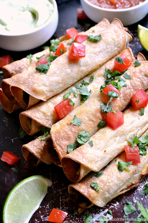 Baked Black Bean Taquitos with Avocado Cream Sauce ... yum! This ...