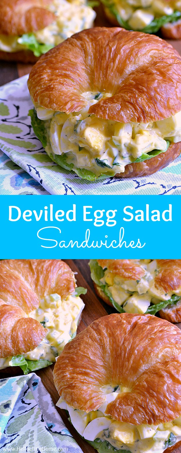 Learn how to make Deviled Egg Salad Sandwiches ... a tasty twist on the classic egg salad recipe with a delicious curry flavor! This easy deviled egg salad recipe is bursting with flavor and crunch! A fun twist on the classic egg salad recipe that's so simple to make, this vegetarian egg salad recipe is perfect for parties, snacks, lunch, or any meal! | Hello Little Home #eggsalad #eggsaladsandwich #sandwich #recipe #vegetarianrecipes #deviled #deviledeggs #deviledeggsalad