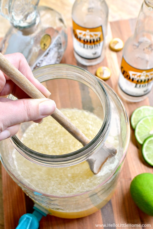 Mixing up a batch of Beergaritas