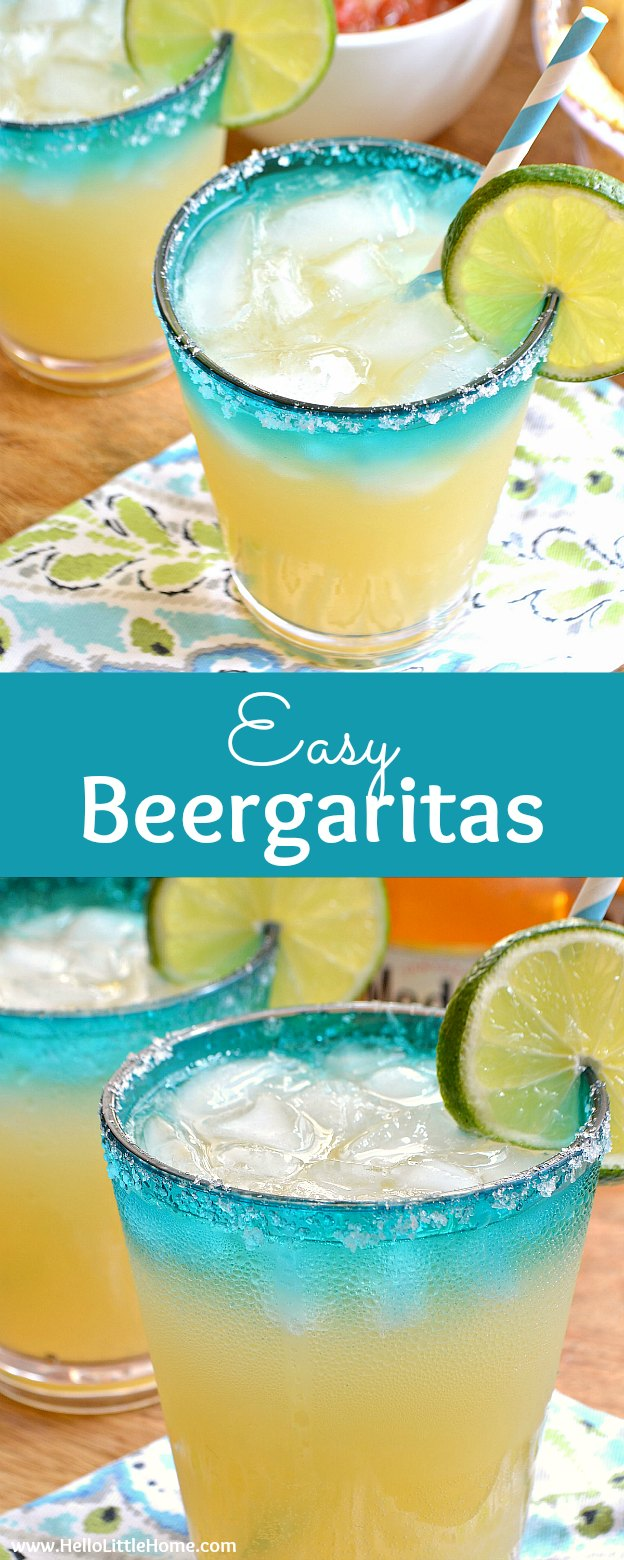 Easy Beergaritas recipe, a refreshing beer cocktail combining your two fave party drinks, beer and margaritas! Make a pitcher of Beergaritas with three simple ingredients: tequila, limeade, and Corona beer. Garnish these beertails with limes and salt. These beer margaritas are a fast, easy summer drinks recipe that's perfect for Cinco de Mayo, happy hour, or any celebration! | Hello Little Home #beer #beergaritas #beercocktail #beertails #summerdrinks #cocktails #cocktailrecipe #beermargarita