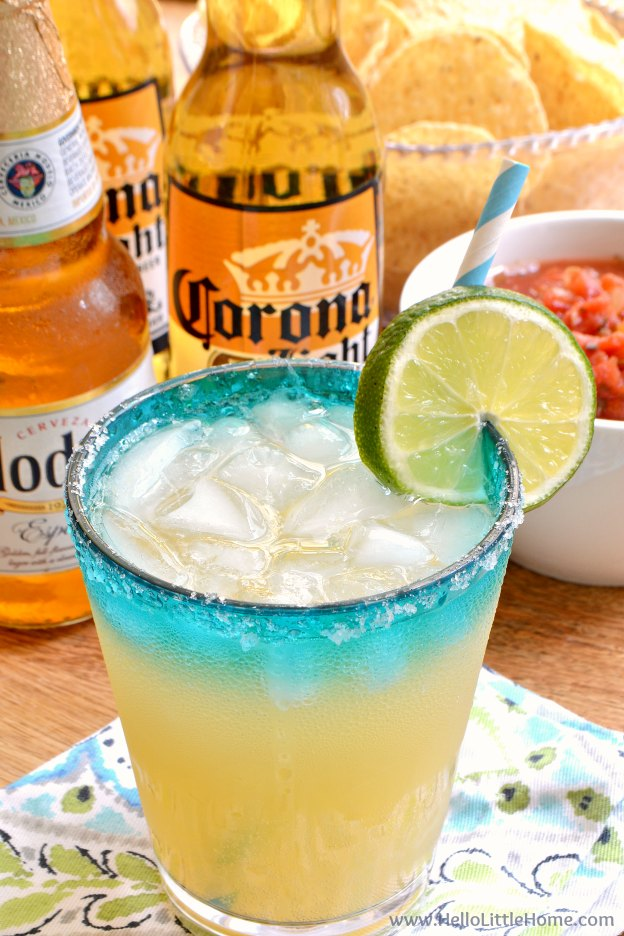 Easy Beergaritas recipe ... a delicious, refreshing combination of your two favorite party drinks, beer and margaritas! Make a pitcher of Beergaritas with three simple ingredients following this fast, easy recipe. Perfect for Cinco de Mayo or any celebration! | Hello Little Home