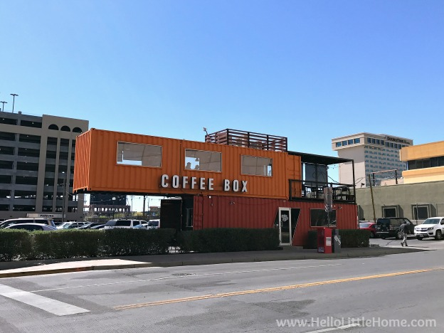 Grabbing a cold brew at El Paso's Coffee Box during an El Paso to Phoenix Road Trip! Travel from Texas to Arizona with lots of fun stops along the way, including White Sands National Monument and MLB spring training! Find out the best things to do in El Paso and Phoenix, from can't miss sights to delicious restaurants! | Hello Little Home