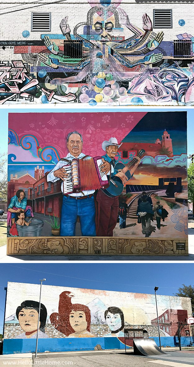 Exploring downtown El Paso murals during an El Paso to Phoenix Road Trip! Travel from Texas to Arizona with lots of fun stops along the way, including White Sands National Monument and MLB spring training! Find out the best things to do in El Paso and Phoenix, from can't miss sights to delicious restaurants! | Hello Little Home